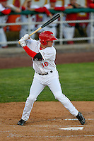 Connor Justus (16) of the Orem Owlz at bat against the Ogden Raptors in Pioneer League action at Home of the Owlz on June 25, 2016 in Orem, Utah. Orem defeated Ogden 4-1.  (Stephen Smith/Four Seam Images)