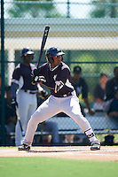 GCL Yankees East third baseman Yeison Corredera (87) at bat during a game against the GCL Pirates on August 15, 2016 at the Pirate City in Bradenton, Florida.  GCL Pirates defeated GCL Yankees East 5-2.  (Mike Janes/Four Seam Images)