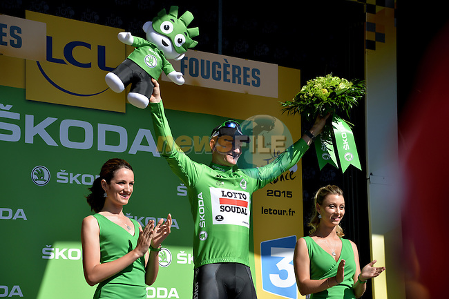 Andre Greipel (GER) Lotto-Soudal wears the sprinter's Green Jersey at the end of Stage 7 of the 2015 Tour de France running 190.5km from Livarot to Fougeres, France. 10th July 2015.<br /> Photo: ASO/P.Perreve/Newsfile