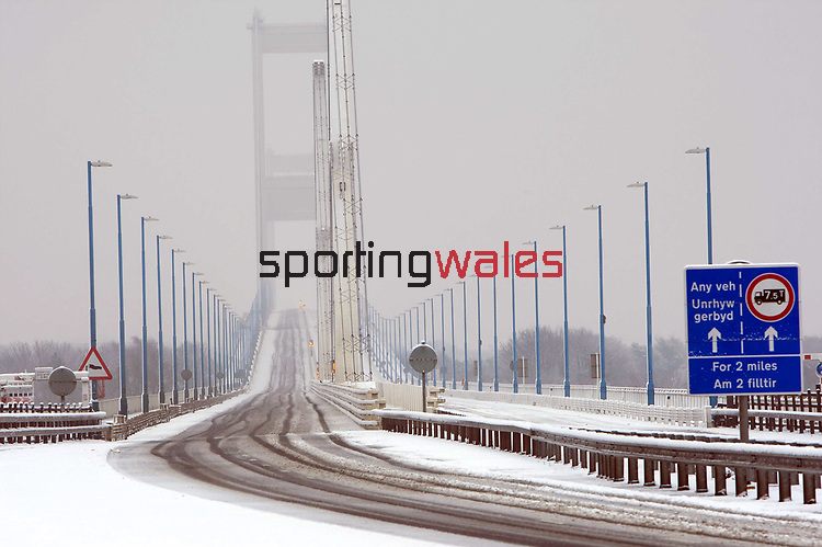 A deserted Severn Bridge covered in snow.<br /> 13.01.10<br /> ©Steve Pope<br /> Sportingwales<br /> The Manor <br /> Coldra Woods<br /> Newport<br /> South Wales<br /> NP18 1HQ<br /> 07798 830089<br /> 01633 410450<br /> steve@sportingwales.com<br /> www.fotowales.com<br /> www.sportingwales.com<br /> ©Steve Pope<br /> Sportingwales<br /> The Manor <br /> Coldra Woods<br /> Newport<br /> South Wales<br /> NP18 1HQ<br /> 07798 830089<br /> 01633 410450<br /> steve@sportingwales.com<br /> www.fotowales.com<br /> www.sportingwales.com