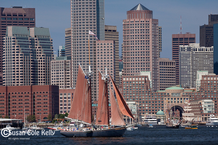 Schooner Roseway against the skyline on Boston Harbor, Boston, MA, USA
