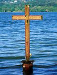 Germany, Bavaria, Upper Bavaria, Lake Starnberg, Berg: memorial cross in honor of King Ludwig II. of Bavaria, who drouned here