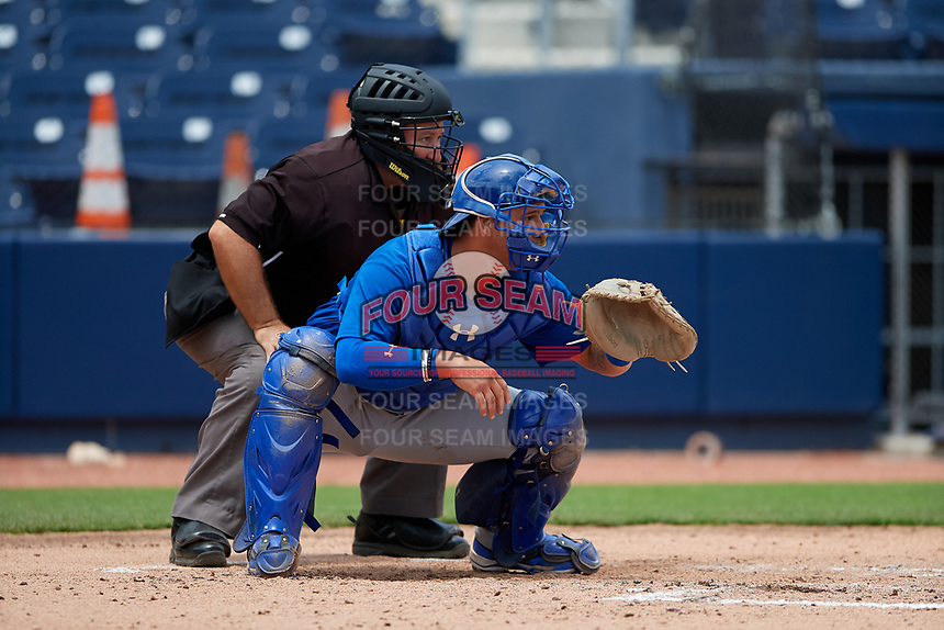 Umpire Manny Salazar and GCL Mets catcher Natanael Ramos (40) during the second game of a doubleheader against the GCL Nationals on July 22, 2017 at The Ballpark of the Palm Beaches in Palm Beach, Florida.  GCL Mets defeated the GCL Nationals 4-1.  (Mike Janes/Four Seam Images)