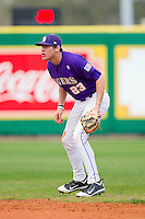 Second baseman JaCoby Jones #23 of the LSU Tigers on defense against the Wake Forest Demon Deacons at Alex Box Stadium on February 20, 2011 in Baton Rouge, Louisiana.  The Tigers defeated the Demon Deacons 9-1.  Photo by Brian Westerholt / Four Seam Images