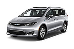 2017 Chrysler Pacifica-Hybrid Platinum 5 Door Minivan Angular Front stock photos of front three quarter view