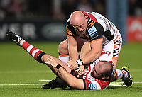 24th September 2021;  Kingsholm Stadium, Gloucester, England; Gallaher Premiership Rugby, Gloucester Rugby versus Leicester Tigers: Dan Cole of Leicester Tigers has words with Fraser Balmain of Gloucester