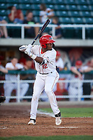 Orem Owlz Jose Verrier (12) at bat during a Pioneer League game against the Idaho Falls Chukars at The Home of the OWLZ on August 13, 2019 in Orem, Utah. Orem defeated Idaho Falls 3-1. (Zachary Lucy/Four Seam Images)