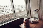 Old buiding in the outskirts of Minsk. If the city center is completly renoved, most of the population live in these dirty outskirts, Minsk, Belarus, february 2016.<br /> Vieux immeubles dans la banlieue de Minsk. Si le centre ville est refait à neuf, la majeure partie de la population vit dans ces Banlieues délabrées, Minsk, Biélorussie, février 2016.