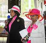 WATERBURY, CT 050821JS05—Joyce Hall-Petteway,  event Mistress of Ceremony, left, introduces keynote speaker State Senator Marilyn Moore (D-22nd District) during a Mother's Day celebration held Saturday at Lakewood Park in Waterbury. The event was hosted by the Black Women United Committee. <br /> Jim Shannon Republican American