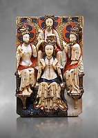Gothic marble relief sculpture of the Coronation of the Virgin Mary made in London or York, 1420-1460.  National Museum of Catalan Art, Barcelona, Spain, inv no: MNAC  64124. Against a grey art background.