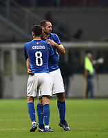 Football: Uefa Nations League Group 3match Italy vs Portugal at Giuseppe Meazza (San Siro) stadium in Milan, on November 17, 2018.<br /> Italy's captain Giorgio Chiellini (r) and Jorginho (l) at the end of the Uefa Nations League match between Italy and Portugal at Giuseppe Meazza (San Siro) stadium in Milan, on November 17, 2018.<br /> Italy and Portugal drawns 0-0.<br /> UPDATE IMAGES PRESS/Isabella Bonotto