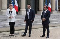 Paris (75),Le President de la Republique, Franeois HOLLANDE, recoit samedi 25 juin 2016 les representants des partis politiques francais au Palais de l Elysee. Front National Marine LE PEN, Florian PHILIPPOT, David RACHLINE