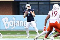CHAPEL HILL, NC - OCTOBER 10: Sam Howell #7 of North Carolina drops back to pass during a game between Virginia Tech and North Carolina at Kenan Memorial Stadium on October 10, 2020 in Chapel Hill, North Carolina.
