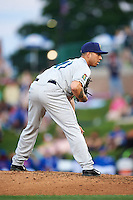 Cedar Rapids Kernels pitcher Jose Velez (41) looks in for the sign during a game against the South Bend Cubs on June 5, 2015 at Four Winds Field in South Bend, Indiana.  South Bend defeated Cedar Rapids 9-4.  (Mike Janes/Four Seam Images)