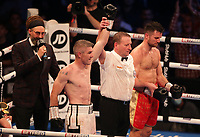 9th October 2021; M&S Bank Arena, Liverpool, England; Matchroom Boxing, Liam Smith versus Anthony Fowler; LIAM SMITH (Liverpool, England) celebrates after his 8th round win over ANTHONY FOWLER (Liverpool, England)  for the WBA International Super-Welterweight Title