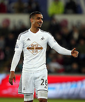 SWANSEA, WALES - MARCH 16: Kyle Naughton of Swansea<br /> Re: Premier League match between Swansea City and Liverpool at the Liberty Stadium on March 16, 2015 in Swansea, Wales