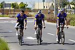Shane Archbold (NZL) and Sam Bennett (IRL) Deceuninck-Quick Step recon the course before Stage 2 of the 2021 UAE Tour an individual time trial running 13km around  Al Hudayriyat Island, Abu Dhabi, UAE. 22nd February 2021.  <br /> Picture: Eoin Clarke | Cyclefile<br /> <br /> All photos usage must carry mandatory copyright credit (© Cyclefile | Eoin Clarke)