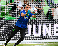 AUSTIN, TX - JUNE 19: Brad Stuver #41 of Austin FC warming up before a game between San Jose Earthquakes and Austin FC at Q2 Stadium on June 19, 2021 in Austin, Texas.