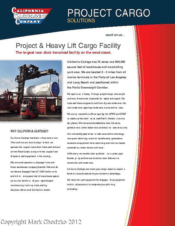 Advertising brohure for California Cartage warehouse facility, heavy orversized frieght