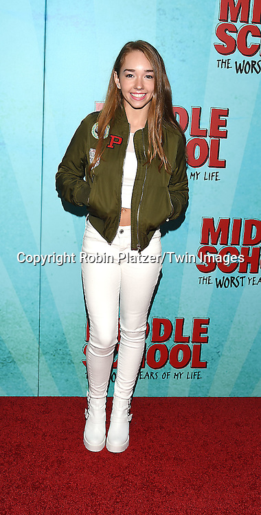 """Holly Taylor attends the """"Middle School: The Worst Years of My Life"""" New York Screening on October 1, 2016 at the Regal E-Walk in New York, New York, USA.<br /> <br /> photo by Robin Platzer/Twin Images<br />  <br /> phone number 212-935-0770"""