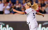 HOUSTON, TX - FEBRUARY 03: Lindsey Horan #9 of the United States celebrates her goal during a game between Costa Rica and USWNT at BBVA Stadium on February 03, 2020 in Houston, Texas.