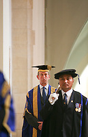 Dignitaries, including the Chancellor, HRH Duke of Kent, prepare for the Graduation Ceremony, University of Surrey.