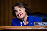 """United States Senator Dianne Feinstein (Democrat of California), Ranking Member, US Senate Judiciary Committee, is seen during the US Senate Judiciary Committee hearing titled """"Examining Best Practices for Incarceration and Detention During COVID-19,"""" in Dirksen Building in Washington, D.C. on Tuesday, June 2, 2020.<br /> Credit: Tom Williams / Pool via CNP/AdMedia"""