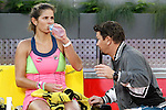 Julia Goerges with his coach during Madrid Open Tennis 2015 match.May, 5, 2015.(ALTERPHOTOS/Acero)