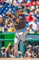 25 July 2013: Pittsburgh Pirates infielder Clint Barmes in action against the Washington Nationals at Nationals Park in Washington, DC. The Nationals salvaged the last game of their series, winning 9-7 ending their 6-game losing streak. Mandatory Credit: Ed Wolfstein Photo *** RAW (NEF) Image File Available ***