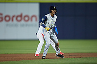 Maikel Garcia (8) of the Columbia Fireflies takes his lead off of second base against the Kannapolis Cannon Ballers at Atrium Health Ballpark on May 18, 2021 in Kannapolis, North Carolina. (Brian Westerholt/Four Seam Images)