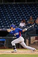 Isiah Kiner-Falefa #5 of the AZL Rangers bats against the AZL Royals at Surprise Stadium on July 15, 2013 in Surprise, Arizona. AZL Rangers defeated the AZL Royals, 3-2. (Larry Goren/Four Seam Images)