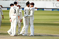 29th May 2021; Emirates Old Trafford, Manchester, Lancashire, England; County Championship Cricket, Lancashire versus Yorkshire, Day 3; Saqib Mahmood celebrates with captain Dane Vilas after giving Lancashire a second wicket before the close, dismissing Tom Kohler-Cadmore of Yorkshire lbw for 32