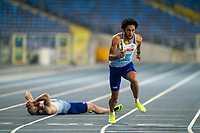 1st May 2021; Silesian Stadium, Chorzow, Poland; World Athletics Relays 2021. Day 1; Disaster for Great Britain as James Williams falls whilst passing the baton to Kevin Metger, ultimately leading to a last place finish and early exit from the Championships