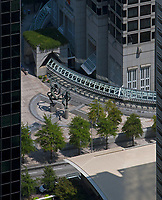 """aerial photograph of  the """"Ballet Olympia""""  sculpture by Paul Manship at One Peachtree Center, Atlanta, Georgia"""
