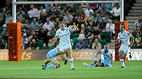 20130802 Copyright onEdition 2013 ©<br /> Free for editorial use image, please credit: onEdition.<br /> <br /> Perry Humphreys of Leicester Tigers 7s is tackled as he breaks upfield during the J.P. Morgan Asset Management Premiership Rugby 7s Series.<br /> <br /> The J.P. Morgan Asset Management Premiership Rugby 7s Series kicks off for the fourth season on Thursday 1st August with Pool A at Kingsholm, Gloucester with Pool B being played at Franklin's Gardens, Northampton on Friday 2nd August, Pool C at Allianz Park, Saracens home ground, on Saturday 3rd August and the Final being played at The Recreation Ground, Bath on Friday 9th August. The innovative tournament, which involves all 12 Premiership Rugby clubs, offers a fantastic platform for some of the country's finest young athletes to be exposed to the excitement, pressures and skills required to compete at an elite level.<br /> <br /> The 12 Premiership Rugby clubs are divided into three groups for the tournament, with the winner and runner up of each regional event going through to the Final. There are six games each evening, with each match consisting of two 7 minute halves with a 2 minute break at half time.<br /> <br /> For additional images please go to: http://www.w-w-i.com/jp_morgan_premiership_sevens/<br /> <br /> For press contacts contact: Beth Begg at brandRapport on D: +44 (0)20 7932 5813 M: +44 (0)7900 88231 E: BBegg@brand-rapport.com<br /> <br /> If you require a higher resolution image or you have any other onEdition photographic enquiries, please contact onEdition on 0845 900 2 900 or email info@onEdition.com<br /> This image is copyright the onEdition 2013©.<br /> <br /> This image has been supplied by onEdition and must be credited onEdition. The author is asserting his full Moral rights in relation to the publication of this image. Rights for onward transmission of any image or file is not granted or implied. Changing or deleting Copyright information is illegal as specified in the Copyright