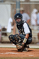 Julian Brock during the WWBA World Championship at the Roger Dean Complex on October 20, 2018 in Jupiter, Florida.  Julian Brock is a catcher from Fulshear, Texas who attends Fulshear High School and is committed to Louisiana-Lafayette.  (Mike Janes/Four Seam Images)