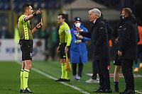 Referee Marco di Bello send off Gian Piero Gasperini of Atalanta BC during the Serie A football match between Atalanta BC and SSC Napoli at stadio azzurri d'Italia in Bergamo (Italy), February 21th, 2021. Photo Daniele Buffa / Image Sport / Insidefoto
