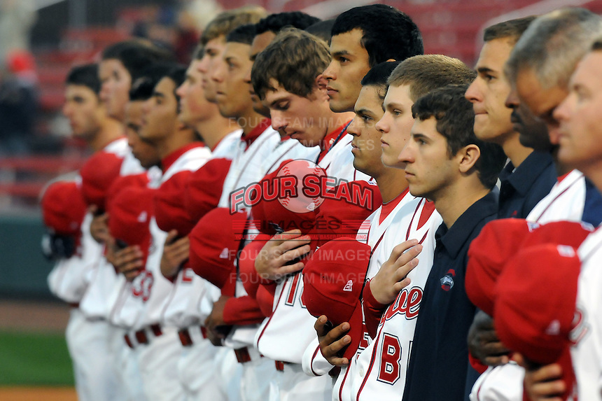 April 3, 2008: Members of the Greenville Drive, Class A affiliate of the Boston Red Sox, listen to the national anthem during the season opener against the Kannapolis Intimidators at Fluor Field at the West End in Greenville, S.C.   Photo by: Tom Priddy/Four Seam Images