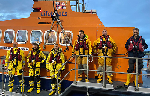 The Courtmacsherry RNLI Lifeboat crew members under Coxswain Mark John Gannon after they arrived back, to the Courtmacsherry Pontoon. Left to Right. Mark John Gannon, Ciaran Hurley, Kevin Young, Evin O Sullivan, Donal Young and Stuart Russell. (Ken Cashman missing from picture)
