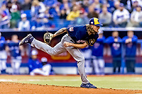 25 March 2019: Milwaukee Brewers pitcher Josh Hader on the mound during an exhibition game against the Toronto Blue Jays at Olympic Stadium in Montreal, Quebec, Canada. The Brewers defeated the Blue Jays 10-5 in the first of two MLB pre-season games in the former home of the Montreal Expos. Mandatory Credit: Ed Wolfstein Photo *** RAW (NEF) Image File Available ***