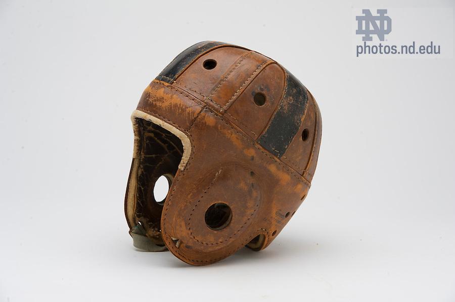 February 2, 2012; Leather football helmet..Photo by Barbara Johnston/University of Notre Dame