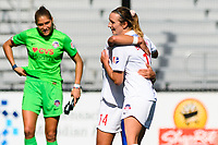 MONTCLAIR, NJ - OCTOBER 3: Dorian Bailey #19 of the Washington Spirit and Paige Nielsen #14 of the Washington Spirit hug post-game during a game between Washington Spirit and Sky Blue FC at MSU Soccer Park at Pittser Field on October 3, 2020 in Montclair, New Jersey.