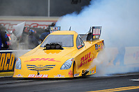 Oct. 2, 2011; Mohnton, PA, USA: NHRA funny car driver Jeff Arend during the Auto Plus Nationals at Maple Grove Raceway. Mandatory Credit: Mark J. Rebilas-