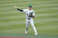 Charlotte 49ers shortstop Jack Dragum (6) makes a throw to first base against the Old Dominion Monarchs at Hayes Stadium on April 23, 2021 in Charlotte, North Carolina. (Brian Westerholt/Four Seam Images)