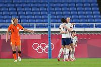 YOKOHAMA, JAPAN - JULY 30: Samantha Mewis #3 of the United States celebrates scoring with Carli Lloyd #10 during a game between Netherlands and USWNT at International Stadium Yokohama on July 30, 2021 in Yokohama, Japan.