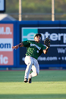 Daytona Tortugas left fielder Malik Collymore (4) slides to try to catch a fly ball during a game against the St. Lucie Mets on August 3, 2018 at First Data Field in Port St. Lucie, Florida.  Daytona defeated St. Lucie 3-2.  (Mike Janes/Four Seam Images)