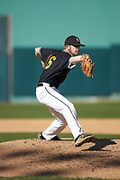 West Virginia State Yellow Jackets relief pitcher Clark Reese (16) in action against the Catawba Indians at Newman Park on February 9, 2020 in Salisbury, North Carolina. The Indians defeated the Yellow Jackets 15-9 in game one of a doubleheader.  (Brian Westerholt/Four Seam Images)