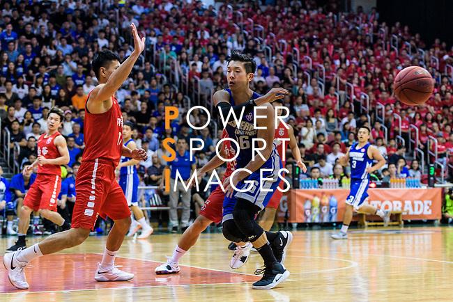 Xu Adam #16 of Eastern Long Lions (R) passes the ball during the Final of Hong Kong Basketball League 2018 match between SCAA v Eastern Long Lions on August 10, 2018 in Hong Kong, Hong Kong. Photo by Marcio Rodrigo Machado/Power Sport Images