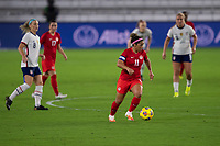 ORLANDO CITY, FL - FEBRUARY 18: Desiree Scott #11 during a game between Canada and USWNT at Exploria stadium on February 18, 2021 in Orlando City, Florida.