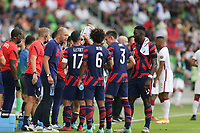 AUSTIN, TX - JULY 29: United States head coach Gregg Berhalter talks with the team during a game between Qatar and USMNT at Q2 Stadium on July 29, 2021 in Austin, Texas.